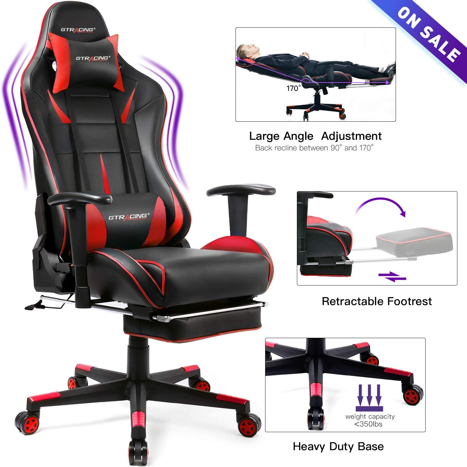 GTRACING Gaming Chair with Footrest Racing Heavy Duty Big & Tall Adjustable Recliner with Headrest Lumbar Support Pillow High Back Ergonomic Computer Desk Executive Office Chair GT909 Red