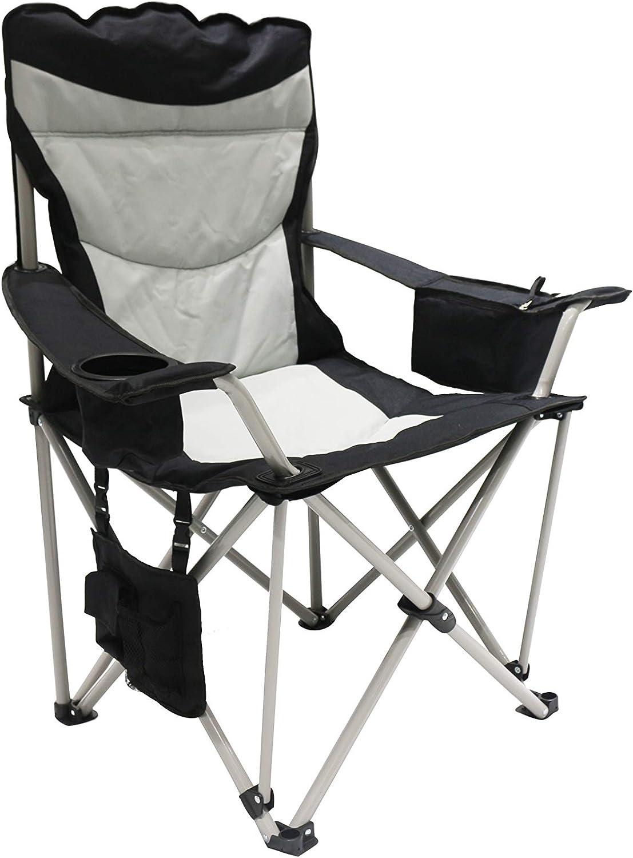 Homecall Chaise de camping pliable ronde, avec poche isotherme et rangement pour magazine (Noirblanc crème)