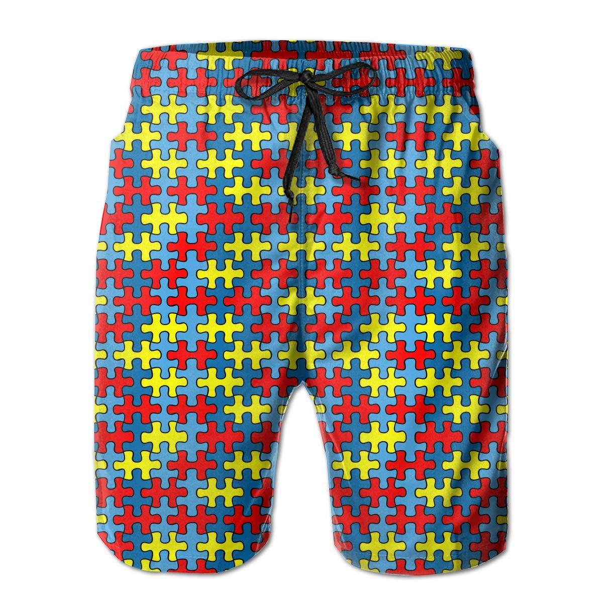 UHT28DG Autism Awareness Puzzle Pattern Mens Lightweight Boardshorts Surf Yoga Pockets Beachwear