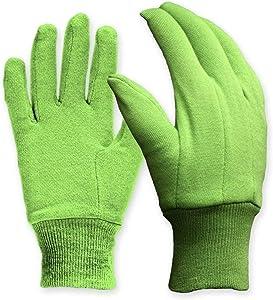 Digz Cotton Jersey Garden Gloves, Green, Medium