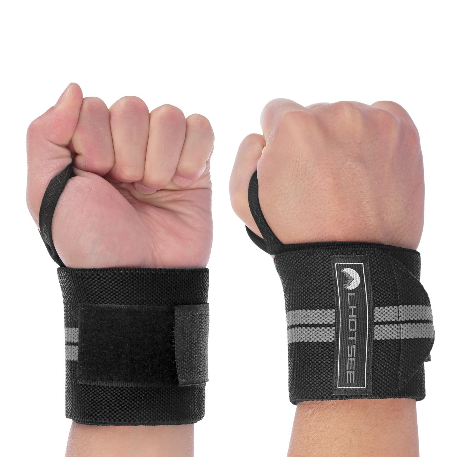 LHOTSEE Premium Wrist Straps,Professional Weight Lifting Training Wrist Straps Support Braces Wraps For Men and Women (Gray)