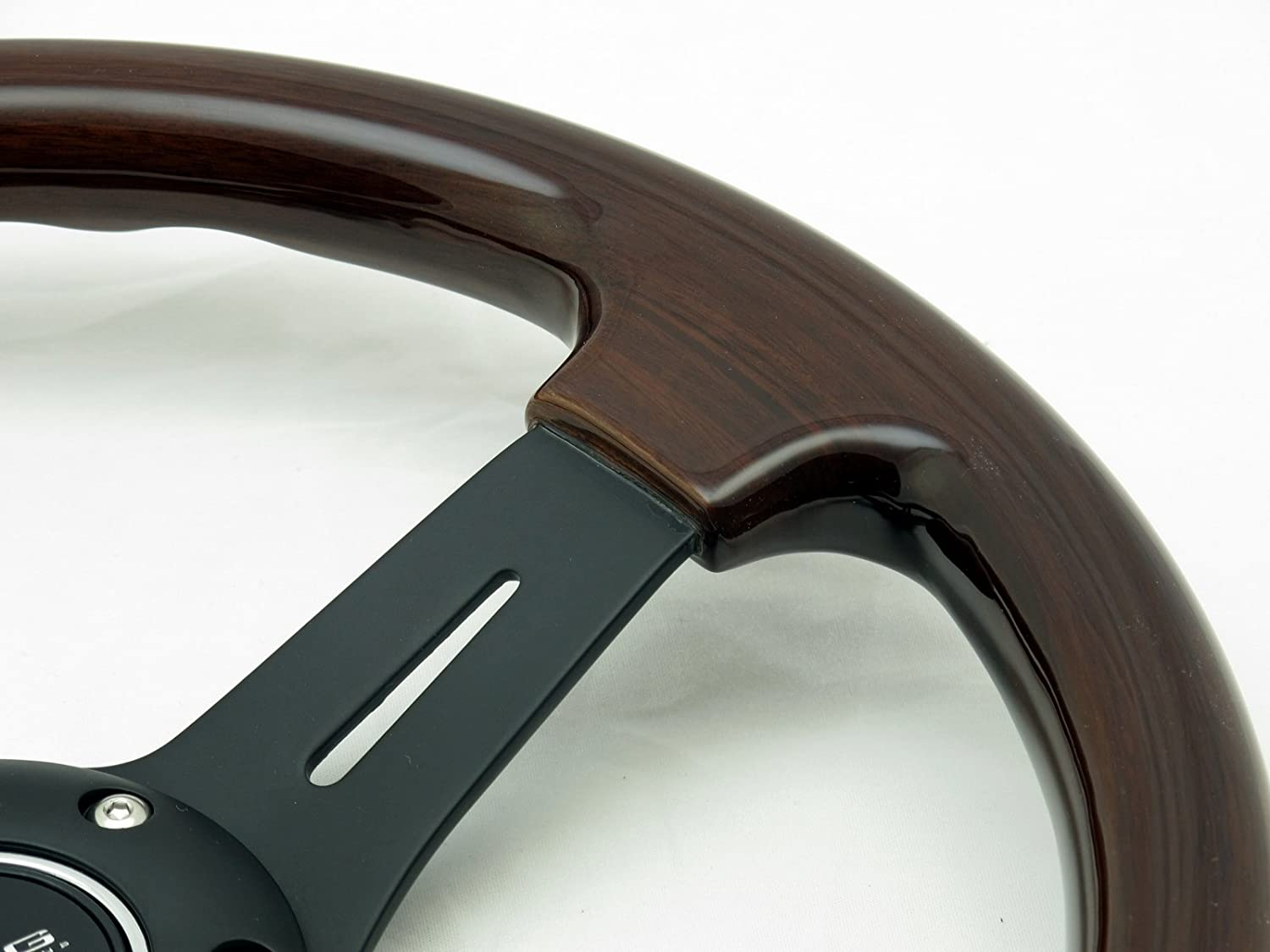 NRG Steering Wheel Classic Wood Grain with Black Spokes 330mm Part # ST-015-1BK