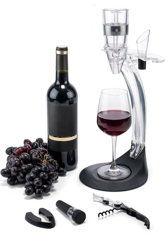 Wine Aerator Gift Set: Wine Aerators with Aluminum Ring - Red Wine Aerator Set - Wine Aerator with Wine Aerator Pourer, Foil Cutter, Bottle Stopper, Cork Opener, Stand and Wine Glass Holder