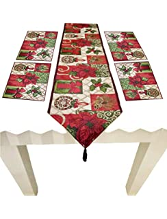 table runner with placemats bamboo shinybaby christmas tapestry table runner placemats poinsettia pattern thanksgiving day easter pieces set amazoncom decorative and placemats letool