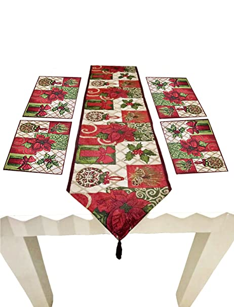 Christmas Runner Patterns.Tonfant Christmas Tapestry Table Runner Placemats Poinsettia Pattern Christmas Thanksgiving Day Easter 5 Pieces Set 1 Table Runner 4 Placemats 13