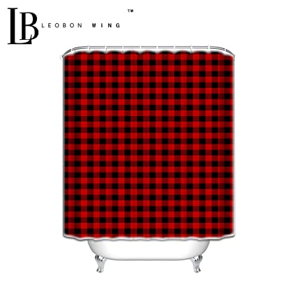 Personalized Shower Curtains Rustic Red Black Buffalo Check Plaid Pattern Curtain 72 W X