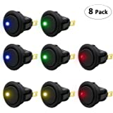 TedGem 12V 20A Car Auto Round Rocker ON/OFF Toggle SPST Switch with blue Led Dot Light 8 pcs Car Boat Truck Trailer Auto Switch Button with 4 color LED Dot Light
