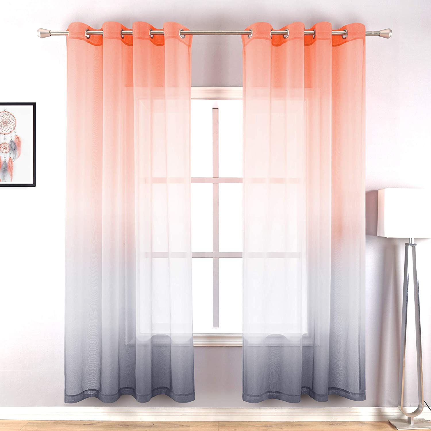 Coral and Gray Curtains for Bathroom Decor Set of 2 Panels Grommet Window Voile Drapes Faux Linen Ombre Sheer Curtains for Living Room Girls Bedroom Salmon and Grey 52 x 63 Inch Length