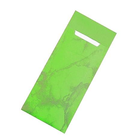 Cubertería bolsillos con servilleta manzana de mármol verde 20 cm, papel, 30 unidades