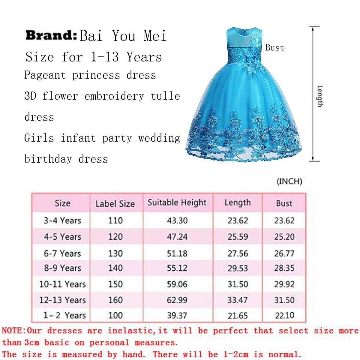 Bai You Mei Girl Sleeveless Wedding Party 3D Embroidered Flower Dresses