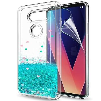 LeYi Funda LG V30 / LG V30S ThinQ Silicona Purpurina Carcasa con HD Protectores de Pantalla,Transparente Cristal Bumper Telefono Gel TPU Fundas Case ...