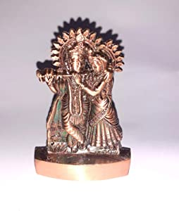 4 Inch Metal Murti Lord Radha Krishna Idol God of Love Playing Flute for Home Décor Living Room Metal Statue Temple Gift Item