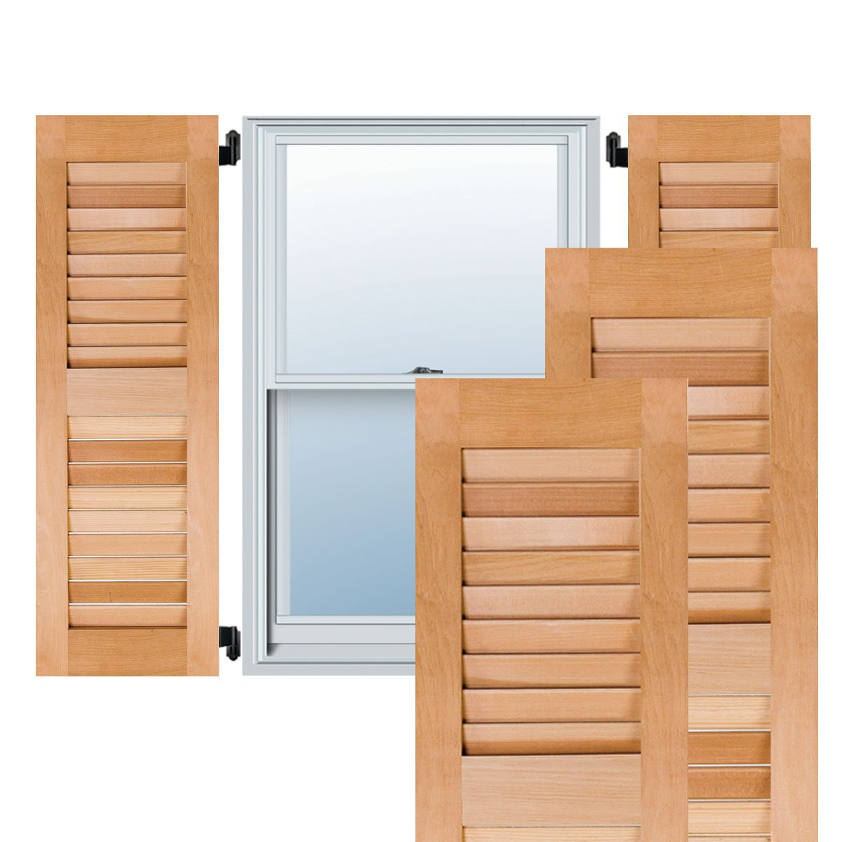 Ekena Millwork RWL18X039UNW Exterior Real Wood Western Red Cedar Open Louvered Shutters 18W x 39H Unfinished Per Pair