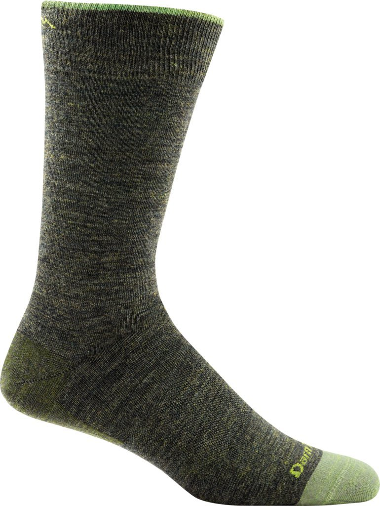 Darn Tough Men's Solid Crew Light Sock (Style 1617) Merino Wool, Forest (Large 10-12) - 6 Pack by Darn Tough
