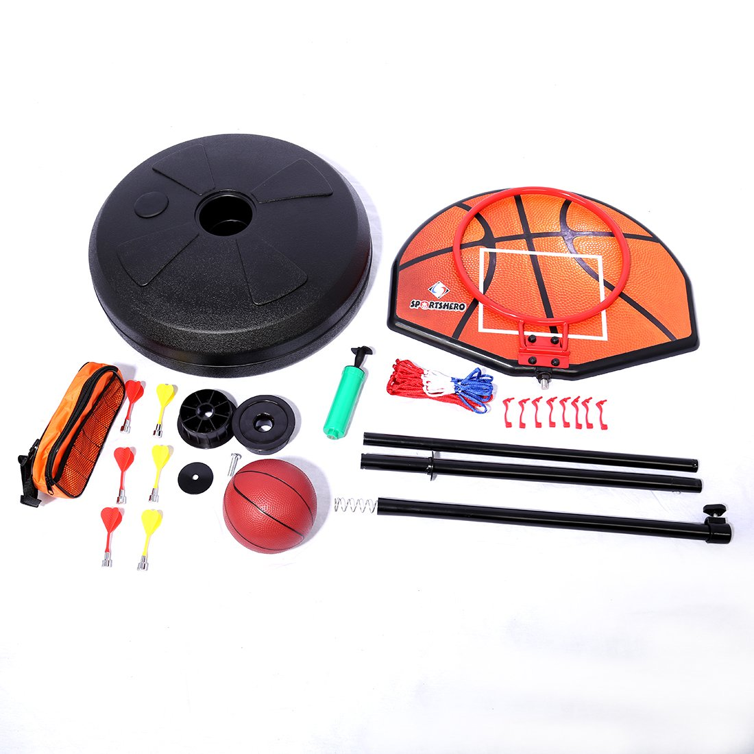 Basketball Stands PINCHUANGHUI 2-in-1 Standing Darts and Basketball Stands Kids Teenagers Goal Hoop Shooting Toy Set by PINCHUANGHUI (Image #5)