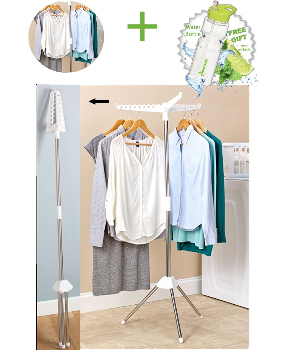 Gift Included- Air-dry Wet Garment Clothes Drying Pole Hang and Dry Rack for Home, Travel or College + FREE Bonus Water Bottle byHomecricket by HomeCricket (Image #1)