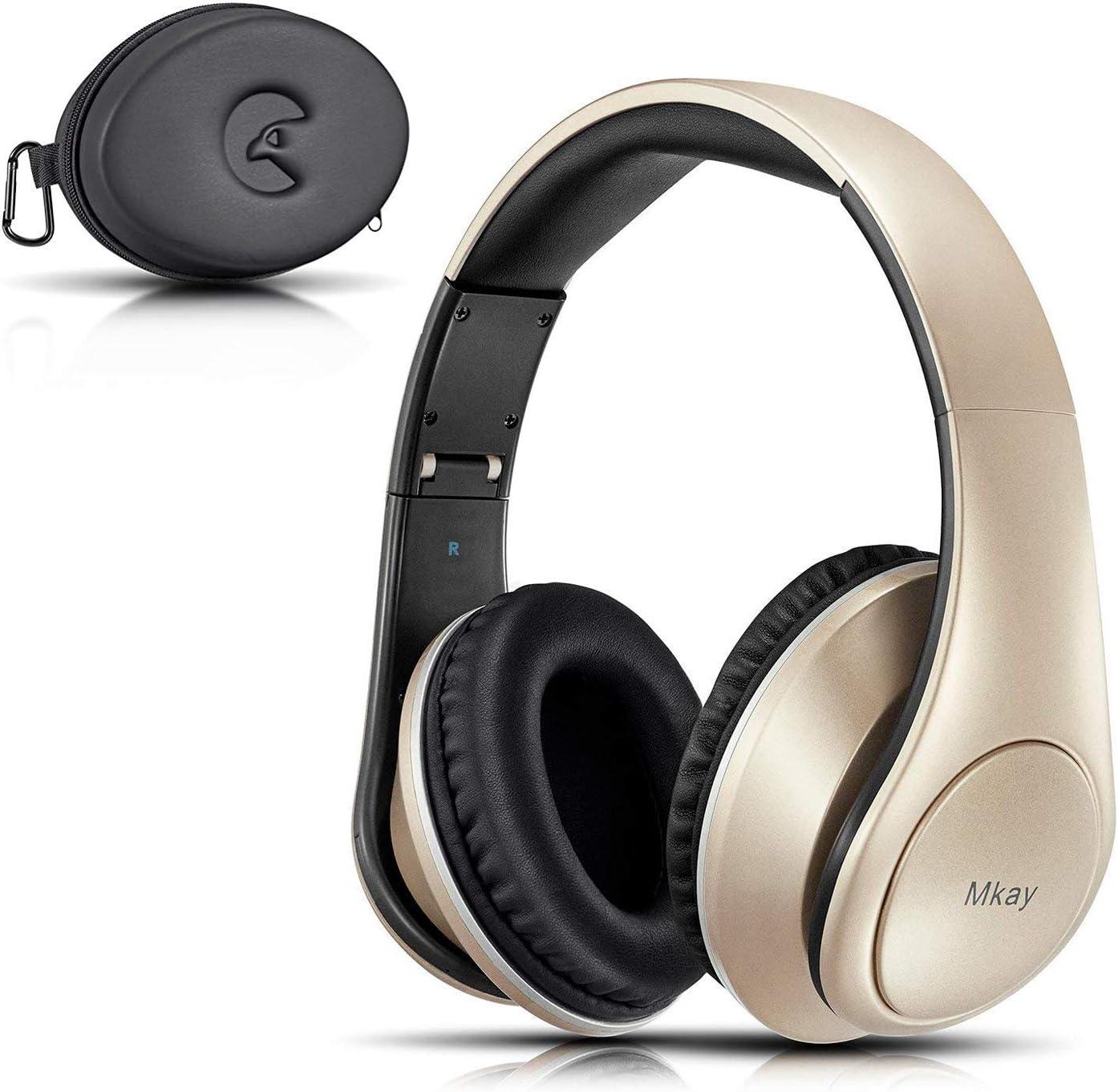 MKay オーバーイヤーヘッドホン Bluetooth 密閉型 高音質 ワイヤレスヘッドフォン Bluetooth V4.2 25時間音楽再生 1.5時間の高速充電 折りたたみ式 マイク内蔵 スマホ・タブレット・パソコンに対応 (ゴールド)