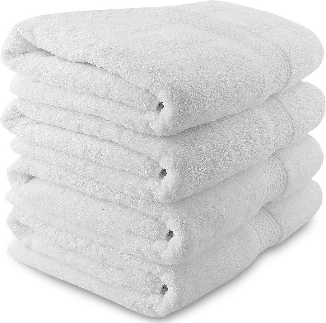 Hashcart Soft Absorbent Cotton Towel Sheets//Bath Sheets//Bath Washcloths//White Cotton Bath Towel Sets for Bathroom Spa Pool HC-TWL-W-1001-3060+1-00 Beach