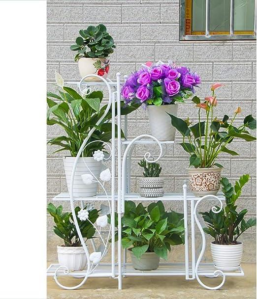 LWJJHJ Soporte de Flores Escalera de Flores Estructura de Maceta Multicapa Estante for Flores Soporte de exhibición Multifuncional antioxidante de Metal - 3 Colores (Color : White): Amazon.es: Hogar