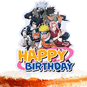 Ninja Cake Topper Happy Birthday Cartoon Character Team Fight Game Heroes Video Game Theme Decor for Baby Shower Birthday Party Decorations Supplies Acrylic
