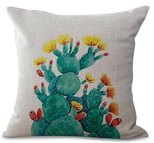 Fundas de cojín creativas Planta color pintado a mano cactus ...