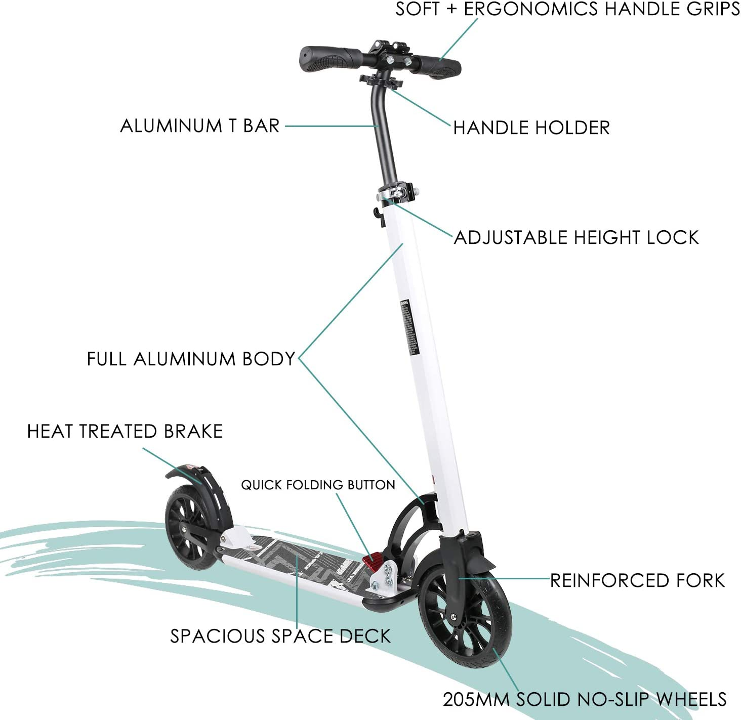 Aesthetic Design,Full Aluminum Body,3 Seconds Easy-Folding System,220lbs Capacity VOKUL Foldable Kick Scooter for Adults Teens Kids with Big 200mm Wheel,Hand Disc Brake Two-Wheels Commuter Scooter