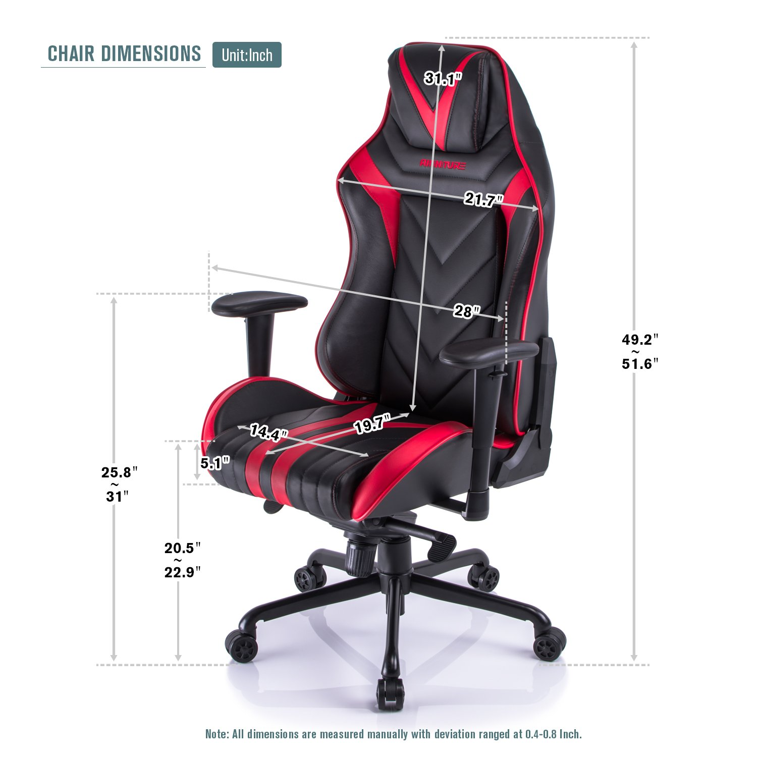Amazon Aminiture Big and Tall Gaming Chair Red High Back
