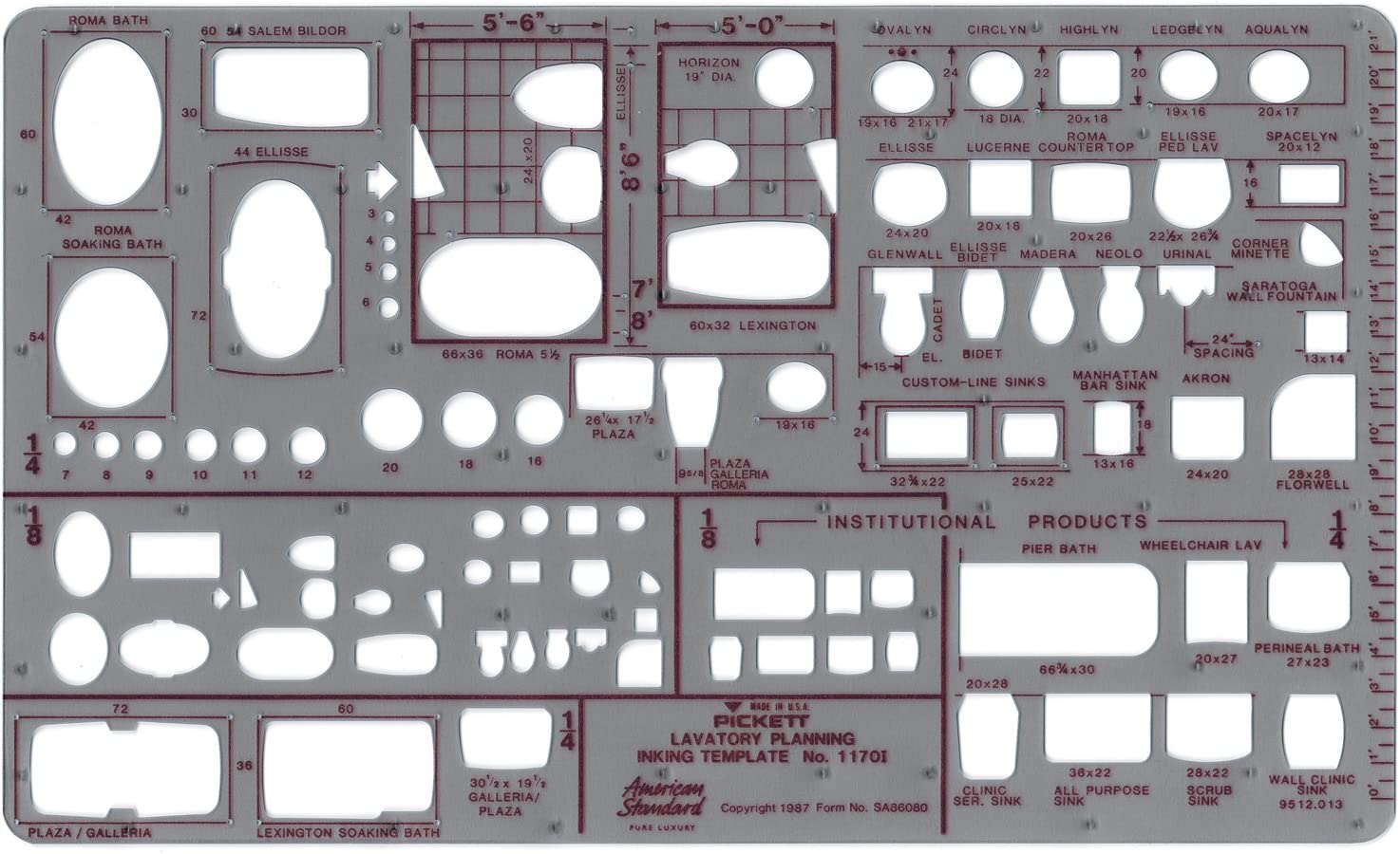 Pickett Lavatory Planning Template, Scale: 1/8 and 1/4 Inch (1170I)