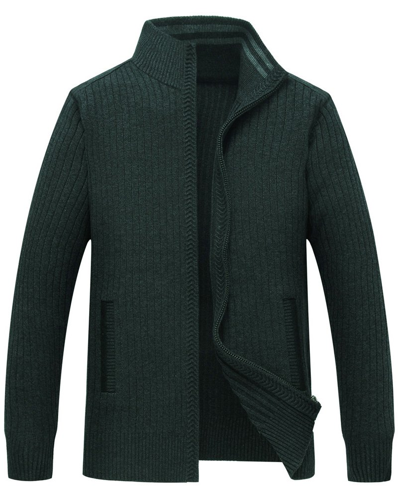 Zicac Men's Zip Up Cardigan Sweaters Mock Neck Solid Color Knitwear (XL, Dark Green)