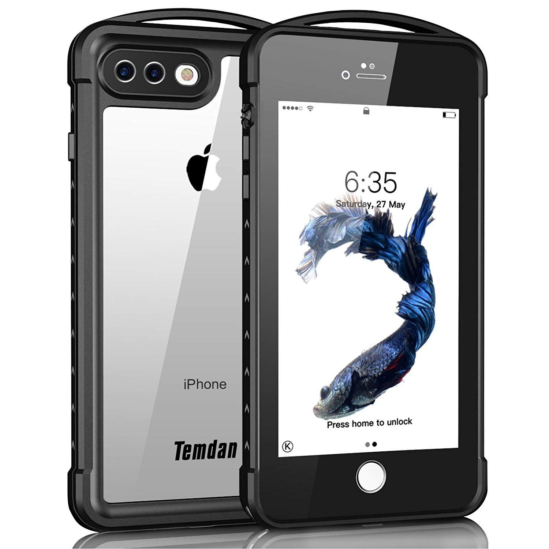 iPhone 7 plus/8 plus Waterproof Case, Temdan SUPREME Series Waterproof Case with Carabiner Built in Screen Protector Outdoor Rugged Shockproof Case for iPhone 7 plus and iPhone 8 plus(5.5 inch)