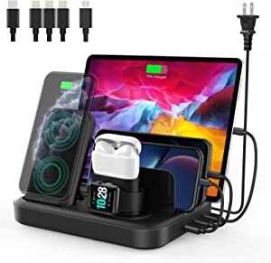seenda Wireless Charging Station for Multiple Devices - 6 in 1 Charging Dock Built-in AC Adapter with Wireless Charger Stand and 3 USB Ports for iPhone, Samsung, Android, Apple Watch, AirPods