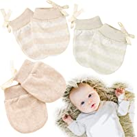 Kalevel 3 Pairs Newborn Mittens No Scratch Cotton Gloves for Boys Girls 0-1 Year (Mixed Color, S)