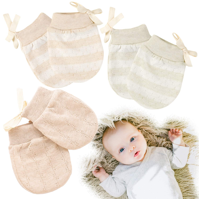 Kalevel 3 Pairs Newborn Baby Mittens Boy Girl Anti Scratch Organic Gloves 0-2 Years (Mixed Colors, M)