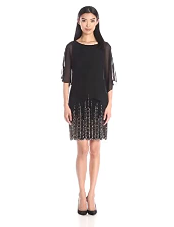7bd82264 Xscape Women's Short ITY Bead Bottom with Chiffon Overlay, Black/Antique 4
