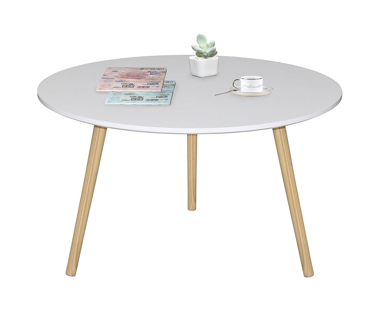 ASPECT Avignon Round Coffee Table, Wood, White, 80 x 80 x 45 cm CFT35W