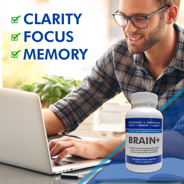 Brain Supplement Nootropic - Brain+ Formally Formula Focus - Improve Focus, Memory & Energy - Ginko Biloba Complex with St John Wort + Bacopa - 90 Day Supply - 100% Money Back Guarantee