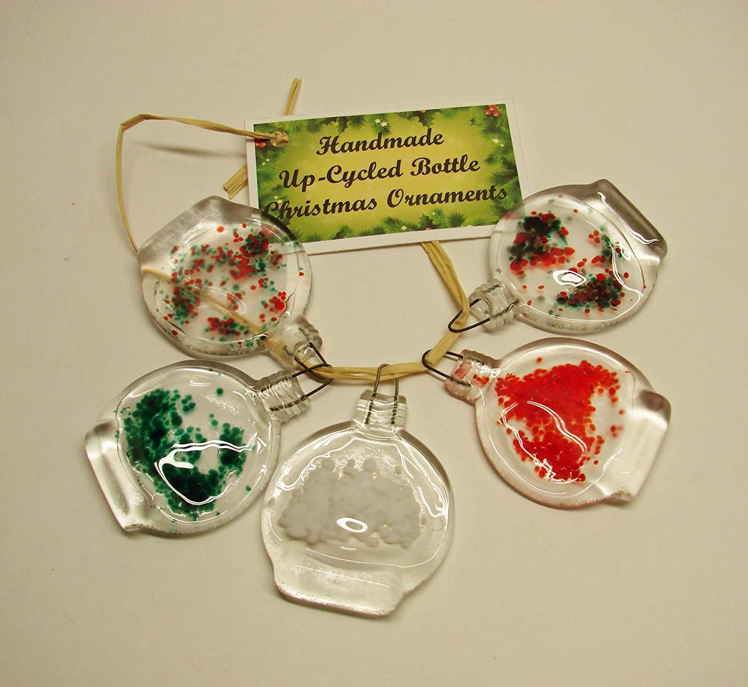 Handmade Set of 5 Christmas Ornaments from Small Upcycled Glass Bottles
