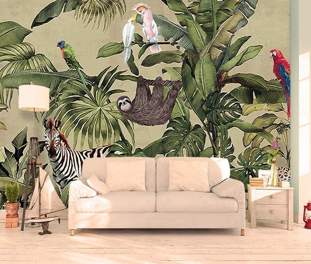 tropical home decor amazon com murwall forest wallpaper vintage jungle wall mural tropical home decor fabric coordinated murwall forest wallpaper vintage