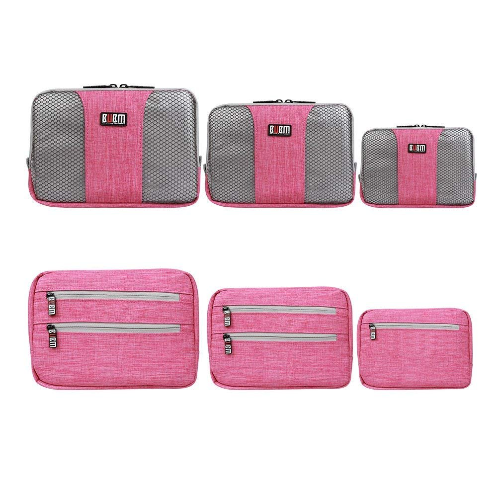 BUBM Travel Organizer Bags Luggage Men and Women Cubes Organizers Cosmetic Waterproof Nylon Bag Packing Clothes Cubes Bags Laundry Pouches for Suitcase Luggage, Storage Organizer 3pcs Set (Rose Red)