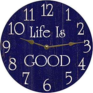 Life is Good Wall Clock No Ticking Round Wood Clock Blue Vintage Home Decor Living Room Bedroom Office School Baby Room Kitchen Clock