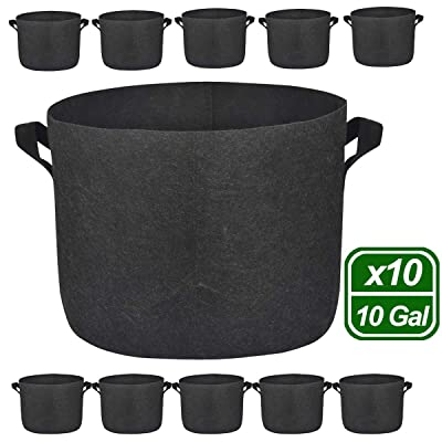 MEARTEVE 10 Pack 10 Gallon Premium Grow Bags, Heavy Duty Nonwoven Fabric Plants Pots with Handles, Indoor & Outdoor Grow Containers for Vegetables and Fruits : Garden & Outdoor
