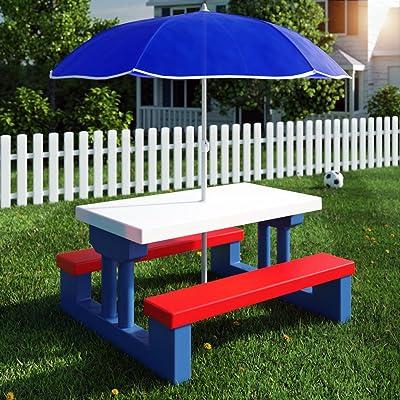 Ensemble de jardin pour enfants table et bancs avec parasol ...