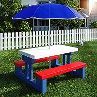 Deuba Kindersitzgruppe für drinnen und draußen inkl. Sonnenschirm - Kinder Sitzgruppe Kinderbank Kindermöbel Kindergartenmöbel Gartenmöbel Picknickgruppe 2 Bänke + Tisch