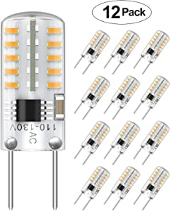 12-Pack T4 G8 LED Bulbs Dimmable, 20-25W Halogens Replacement, 3000K Soft White, Bi-Pin LED Puck Light Bulbs for Under Cabinet, Under Counter Light Bulbs, LED Appliance Bulb