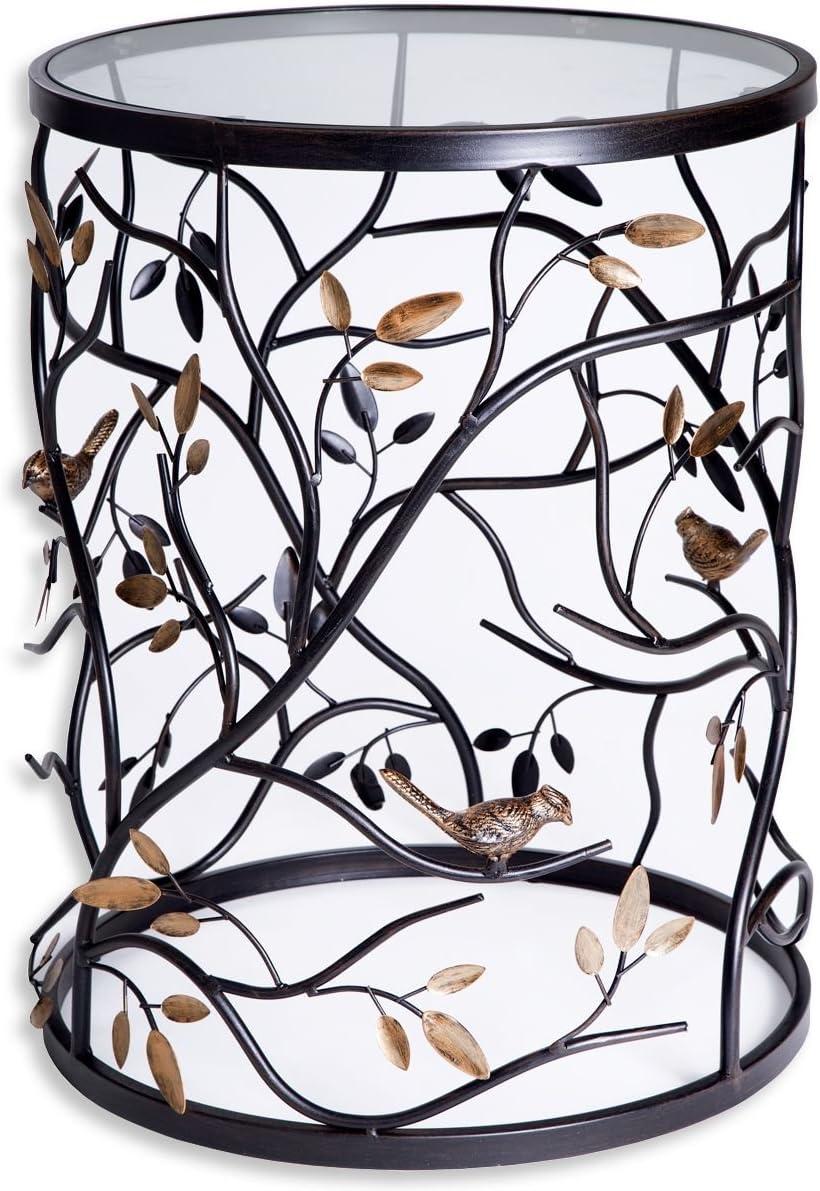 Palais Furnishings Feuilles Metal Barrel End Table, Leaf Design Branch Bird Design