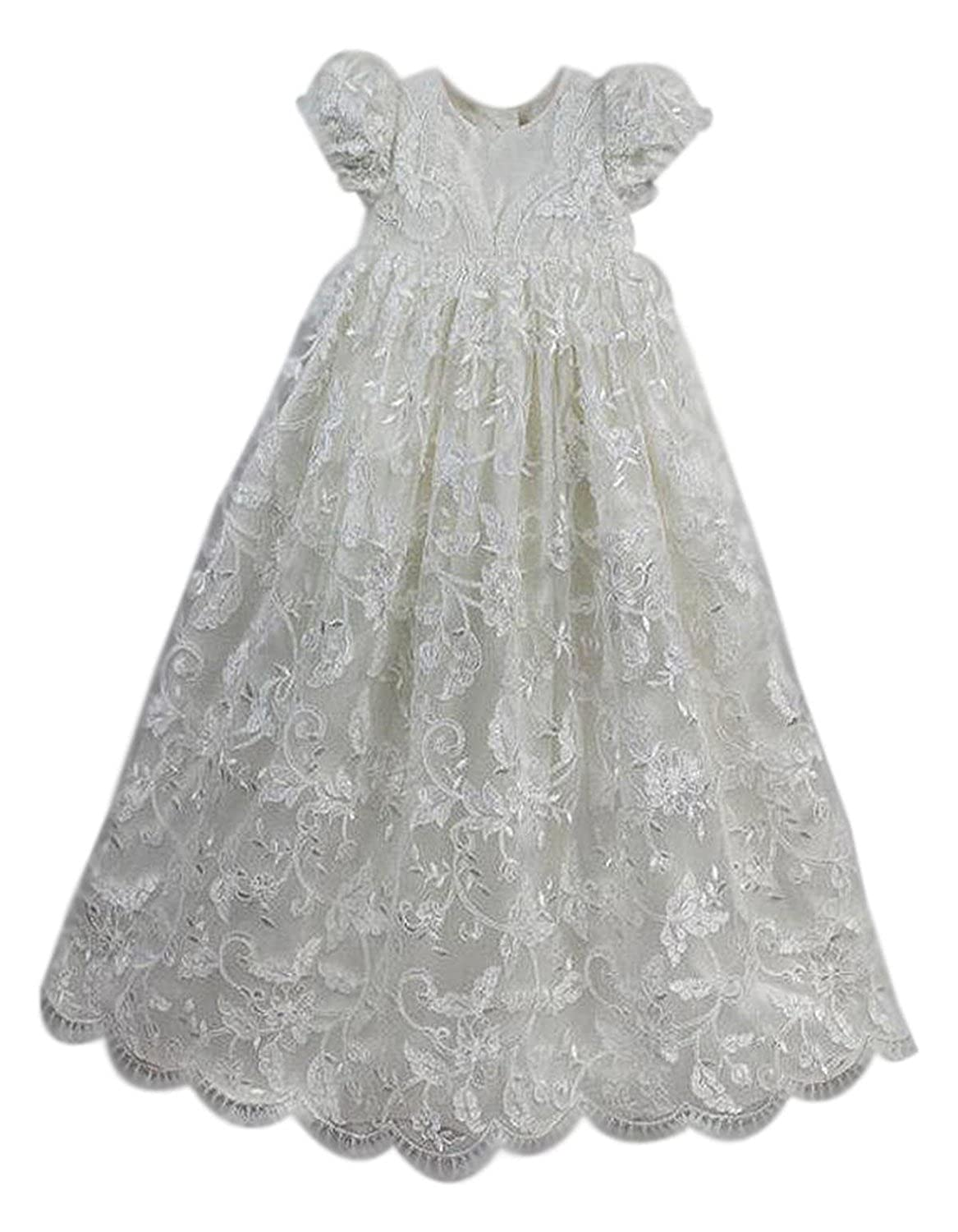 Unisex Baby Puff Cap Sleeve Long Lace Infant Toddler Christening Gowns With Bonnet