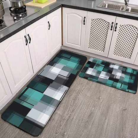 Amazon Com Kitchen Rug Set 2 Pieces Trendy Teal Green Blue Black White Abstract Plaid Washable Mats Rugs Non Slip Indoor Outdoor Doormat Runner Carpet Dining