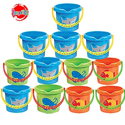 "YongnKids Beach Basics Sand Toy Set - 12 Pack 7"" Inch Beach Pails Sand Buckets for Kids Toddlers Party Favor: Toys & Games"