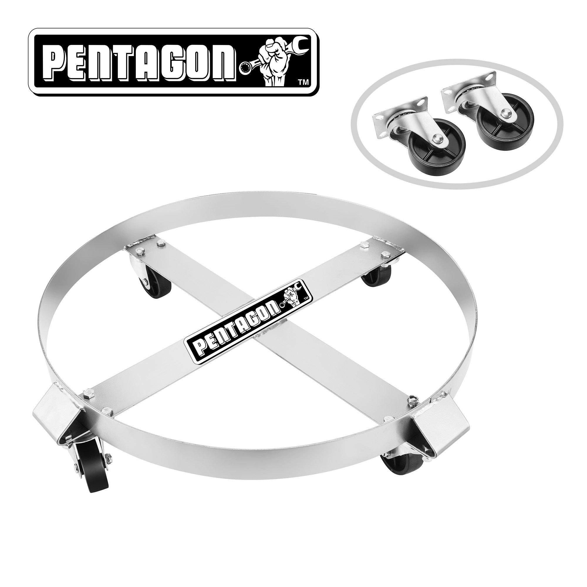 Pentagon 83-DT5493 Tool | Heavy Duty | 55-Gallon Drum Dolly | Single | Silver