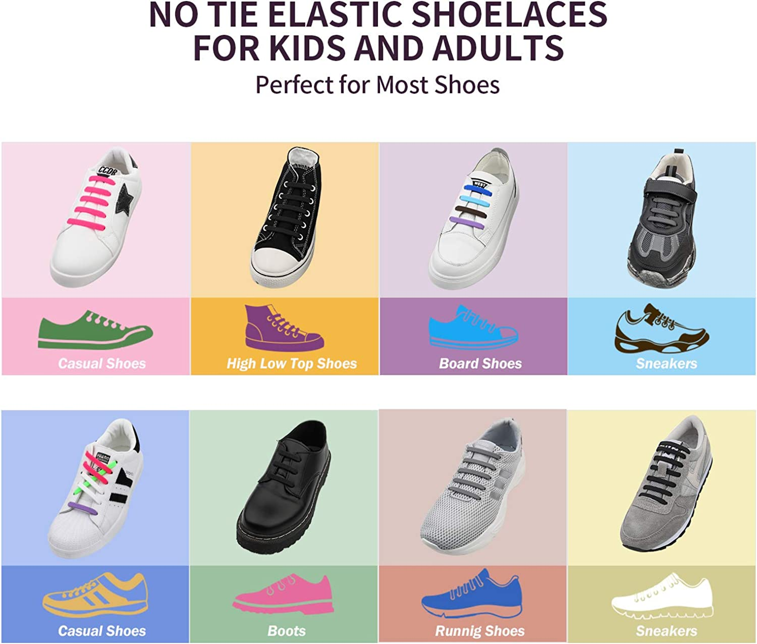 Udaily No Tie Shoelaces for Kids and Adults, Elastic Silicone Shoe Laces for Sneaker: Shoes